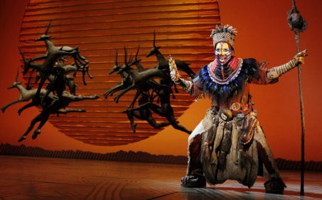 Brenda Mhlongo performs as Rafiki in 'The Circle of Life,' the opening number from 'The Lion King.'