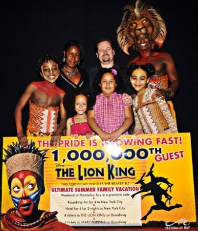 Lion King Las Vegas One Millionth Guest