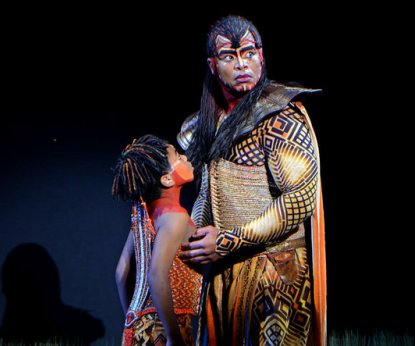 Simba played by Jelani Remy, and Mufasa played by Dionne Randolph
