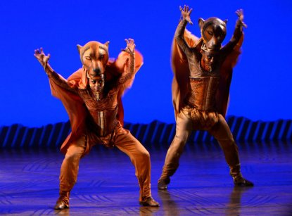 The lionnesses dance during The Pridelands, Scene 4 of The Lion King