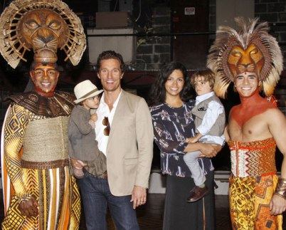 Matthew McConaughey Visits Lion King at NYC With Wife and Kids